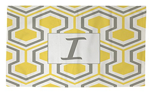 Manual Woodworkers & Weavers Dobby Bath rug, 4 by 6-Feet, Monogrammed Letter i, Giallo a Nido d' Ape