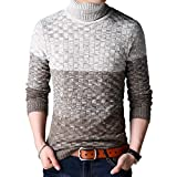 Herren Winter Strickpullover Rollkragenpullover Slim Fit Gestreift Strick Top Elegant Pulli Mode Jungen Langarm Hoher Kragen Pullover Strickpulli (Color : Braun, Size : L)