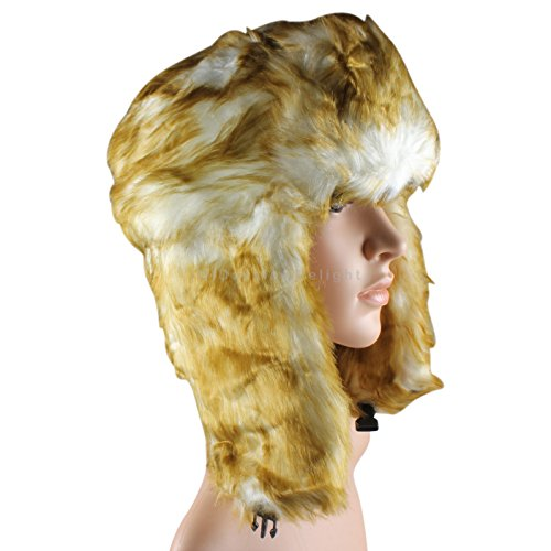 Golden Brown Trapper Hat Russian Cossack Ski Hat Warm Winter Thermal Hat
