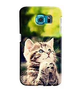 Omnam Cat Sitting In Propose Pose Printed Designer Back Cover Case For Samsung Galaxy S6