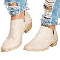 Poplover Womens Western Cowboy Ankle Booties Pointed Toe Zip up Low Heel Shoes