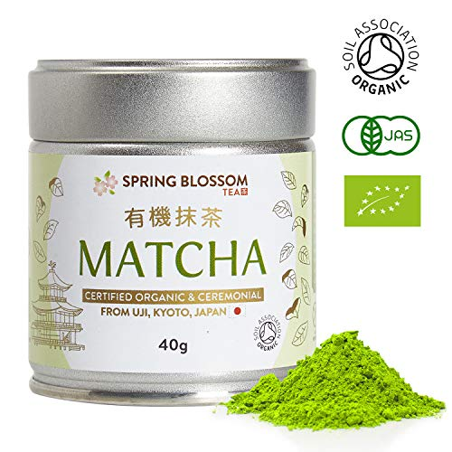 40g Organic Matcha Green Tea Powder Japanese Ceremonial Grade from Uji, Kyoto, First Harvest Stone-Ground, UK Soil Association Certified, Natural Energy Booster & Fat Burner, Vegan, Detox Superdrink
