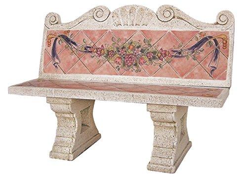 Banc avec dossier pour jardin ou jardin de Pierre Rustique avec carrelage 138 cm