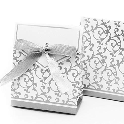ten Bevorzugen Sie Süßigkeitskästen Hochzeitsgeschenk Dekoration Kuchenboxen Band-Hochzeits-Bevorzugungs-Kästen Geschenkkarton Mini Box Silver ()