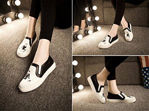 Printemps / Automne Femmes Plat 3D Print Glisser Sur La Plate-Forme De Chaussures Flaneurs Baskets Chaussures chat blanc