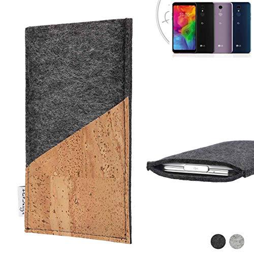 flat.design Handy Hülle Evora für LG Electronics Q7 Alfa handgefertigte Handytasche Kork Filz Tasche Case fair dunkelgrau
