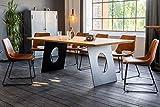 KAWOLA Esstisch Leonard Tischplatte massiv Eiche mit Schweizer Kante Metallfuß Elipse 200x100cm