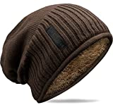 Grin&Bear Weiches Unisex Slouch Beanie Mütze in Feinstrick mit warmem Fleece Innenfutter Dunkelbraun M31