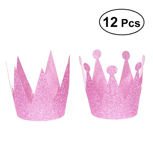 BESTOYARD Kinder Adult Glitter Geburtstag Crown Partyhüte Dekorationen 12 Stück (Pink)