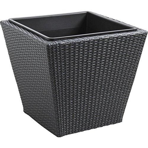 Série de 3 cache-pot carré en rotin synthétique et métal