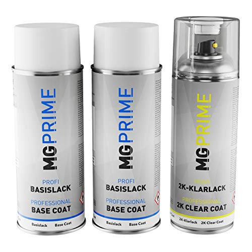 MG PRIME Autolack 2K Spraydosen Set für Infiniti QAA White Pearl/Moonlight White Grundlack Basislack 2 Komponenten Klarlack Sprühdose