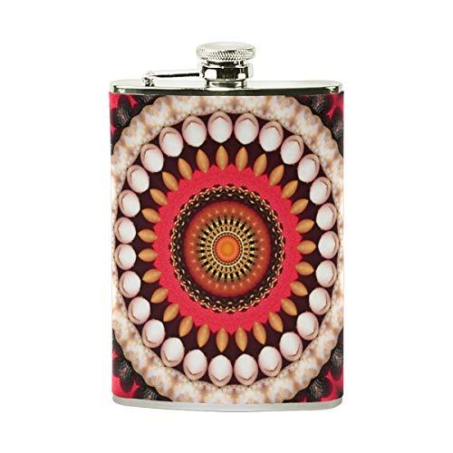 Tizorax Edelstahl-Flachmann, rund, Ornament, Taschenflagon, Camping, Weintopf, Geschenk für Männer oder Frauen, 227 ml