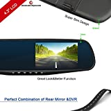 ezonetronics® Grabador de Cámara Espejo Retrovisor de Coche DVR Dual Lens Full HD 1080p 4.3'TFT LCD G-sensor Detección de Movimiento Visión Nocturna 2010