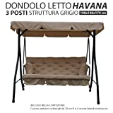 Dondolo Letto Da Giardino 3 Posti Reclinabile Modello Havana Struttura In Metallo Colore Grigio Con Tetto e Cuscini