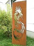 Garten Sichtschutz aus Metall Rost Gartenzaun Gartendeko edelrost Sichtschutzwand 031642 150*50*2cm