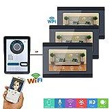 ZY 7-Zoll-3-Display-Kabel- / Wireless-WiFi-Video-Türsprechanlage an der Türklingelanlage mit IR-Cut HD 1000TVL-Kabelkamera-Nachtsichtgerät