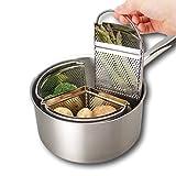 Triplo divisore e divisore per casseruola - Risparmia energia e spazio durante la cottura. Filtro in acciaio inossidabile da 18 cm a tre pezzi. Verdure, patate, cozze, uova sode. Pan non incluso.