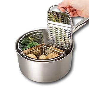 Triplo divisore e divisore per casseruola - Risparmia energia e spazio durante la cottura. Filtro in acciaio inossidabile da 18 cm a tre pezzi. Verdure, patate, pasta, cozze. Pan non incluso.