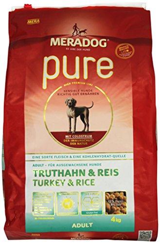 MERADOG PURE Adult Trockenfutter , Hundefutter ohne glutenhaltige Zutaten für sensible Hunde mit Truthahn und Reis , 4 Kg