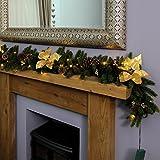 Außen/Innen Beleuchtete Weihnachtsgirlande, batteriebetrieben, mit Weihnachtssternen und Kiefernzapfen, 1,8m, von Festive Lights (Gold)