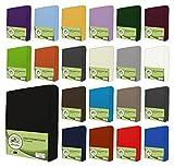 leevitex® Jersey Spannbettlaken, Spannbetttuch 100% Baumwolle in vielen Größen und Farben MARKENQUALITÄT ÖKOTEX Standard 100 | 180 x 200 cm - 200 x 200 cm - Schwarz