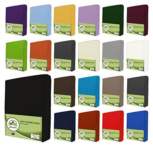 leevitex® Kinder Jersey Spannbettlaken, Spannbetttuch 100% Baumwolle in vielen Größen und Farben MARKENQUALITÄT ÖKOTEX STANDARD 100 | 70x140 cm - Schwarz
