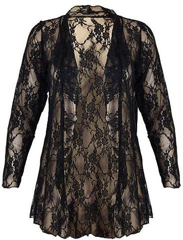 Womens Plus Size Waterfall Lace Cardigan Boyfriend Floral Lace Cardigan Top ( Black , UK 20 / EU 48 )