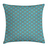 pigyear888 Retro Throw Pillow Cushion Cover, Vintage Bulls Eye Pattern with Abstract Geometric Design Warm Color Palette, Decorative Square Accent Pillow Case, 18 X 18 Inches, Blue Pale Orange
