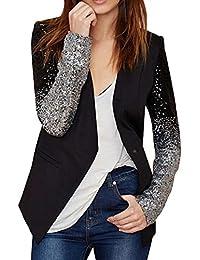 Carolilly Femme Chic Veste de Tailleur Pailletée Blazers Costume Noir  Manches Longues Col en Simili Cuir 6b2c5654172