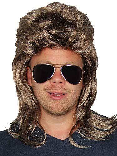 Preisvergleich Produktbild Bad Taste 2 Teile Set - Blonde Vokuhila Perücke + Sonnenbrille - für Herren zum 80er Jahre Männer Kostüm Fasching Karneval Party Rockstar Herrenperücke Farbe graublond