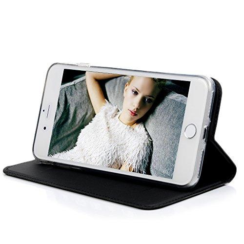 """YOKIRIN Case Handyhülle für iPhone 7 Plus (5.5"""") Wallet Ledercase Ultra Dünn PU Leder Lederhülle Flipcase Automatische Adsorption Handyhülle Folio Handytasche Standfunktion Magnetisch Ledertasche Rück Schwarz"""