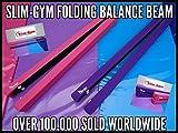 2,1m lange klappbarer Schwebebalken für Gymnastik von Slim-Gym, violetter abwaschbarer Stoff, hot pink
