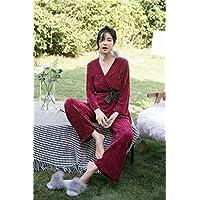 YTNGA Pijamas De Mujer Invierno Espesar Pijamas Conjuntos Mujeres Pijamas Largos Algodón Puro Mantener Caliente, Carmesí, L