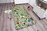 Kinderteppich ZOO - 140cm x 200cm, Schadstoffgeprüft, Anti-Schmutz-Schicht, Teppich mit Straßen und Tieren für Jungen & Mädchen