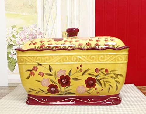 Tuscany Floral Garden, Hand painted Ceramic Bread box / Toast Jar, 84675 by ACK