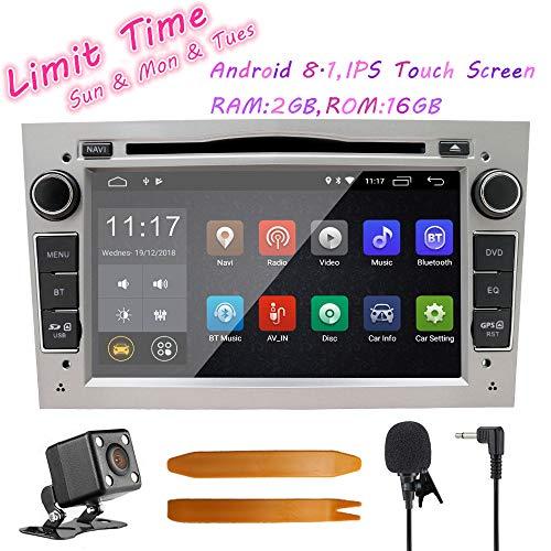 Auto Stereo Android 8.1 Radio DVD Player GPS NAVI 7 Inch IPS 2 Din Fits für Opel Antara Vectra Crosa Vivaro Zafira Meriva mit Rear Camera Support Bluetooth WIFI 4G Spiegel Link USB SWC OBD (Silber)