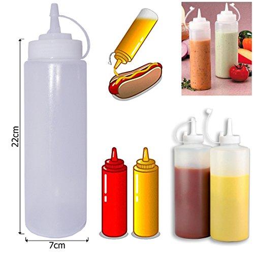 Blanc en plastique transparent-Lot de 6Squeeze Bouteille à condiments Distributeur de ketchup moutarde Chili mayonnaise Sauce Vinaigre Bouteilles Couvercle Bouchon, Transparent, 24 Oz / 700ml