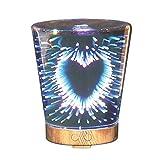 Izzya JS0426 3D Glasabdeckung 7 Farbverlauf Nachtlicht Ätherisches Öl Ultraschall Aromazerstäuber Wasserlose Automatische Abschaltung 100Ml Luftbefeuchter