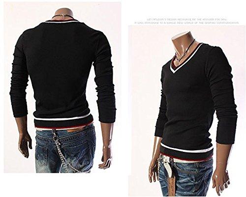 BOMOVO Herren T-Shirt Langarm Shirt mit V-Auschnitt für Sport & Freizeit Schwarz Weiß Schwarz