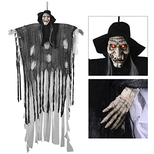 180cm Halloween Figuren Dekoration Requisite, YUNLIGHTS sprachaktiviertes Skelett / Geist mit glühend roten Augen und tollem Soundeffekt, 34,6 Zoll Armbreite (Halloween Figuren)