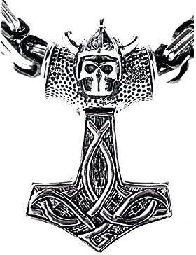Großer Thorshammer Anhänger aus Edelstahl mit schwarz-silberner Königskette, 8,4 mm dick, 55-70 cm lang