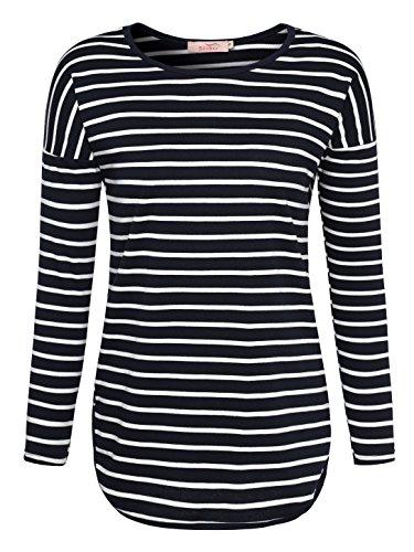 Slivexy Damen Casual Rundkragen Gestreiftes Langarm Shirt T-Shirt Blau-Weiß M (Streifen Blau Weiß Shirt)