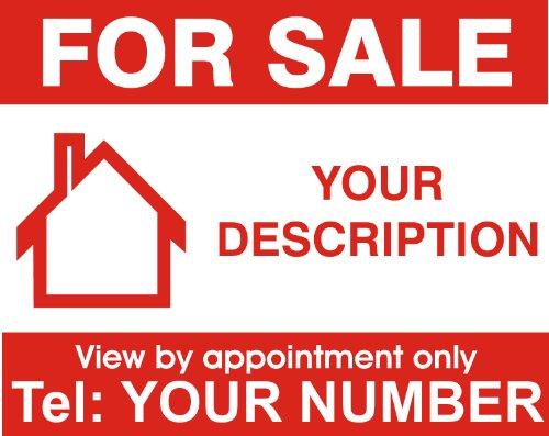 Immobilien-Schild For Sale (englischsprachig), einseitig bedruckt, personalisierbar, 1 Stück
