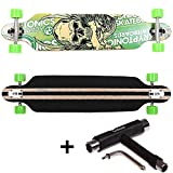 FunTomia Longboard Skateboard Drop Through Cruiser Komplettboard mit Mach1® ABEC-11 High Speed Kugellager T-Tool (Modell Freerider - Farbe Grün Totenkopf + T-Tool)