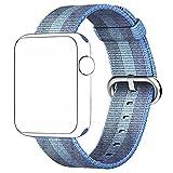 pour Apple Watch Series 1/2/3 38mm, Bracelet Nylon Tresse Band Remplacment - 240mm (Bleu)
