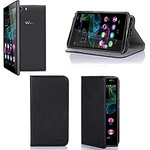 Etui Wiko Ridge Fab 4G/LTE noir luxe Ultra Slim Cuir Style avec stand - Housse Folio Flip Cover coque de protection smartphone/phablette Wiko Ridge Fab noir - Accessoires pochette XEPTIO : Exceptional case !