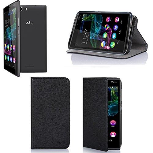 Wiko Ridge Fab 4G Tasche Leder Hülle schwarz Cover mit Stand - Zubehör Etui Wiko Ridge Fab 4G/LTE Flip Case Schutzhülle (PU Leder, Handytasche schwarz black) - XEPTIO accessories