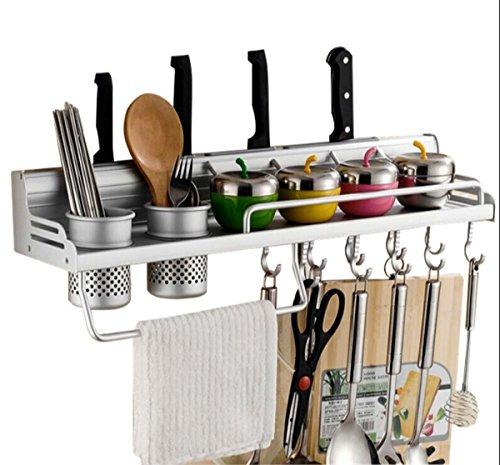 Utensil Rack, Space Aluminium Mehrzweck Organizer Küche Regal Rack Pan Pot Rack, Gewürzregal, Löffel Kelle Aufhänger, Messerblock, Handtuchhalter ( Größe : 40CM ) Utensil Rack
