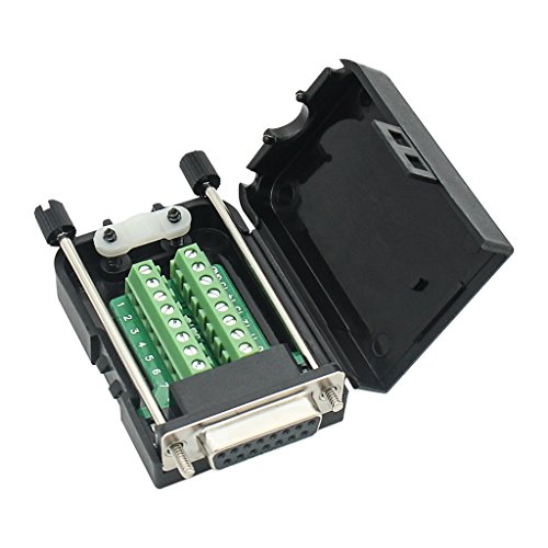 DB15 Breakout Connector Adapter 15-polig Port Adapter auf Terminal Connector Signalmodul mit Gehäuse Female Connector, Long Bolts with case (Db15-adapter)