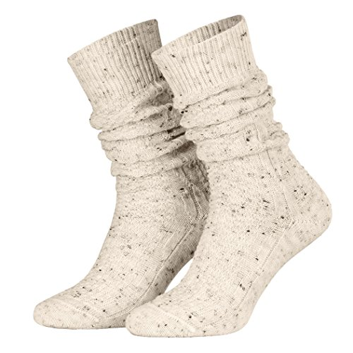 Piarini 43-46/1 Paar Schoppersocken Trachtensocken Herren Damen kurz | Zopfmuster handgekettelte Spitze Wolle | beige -